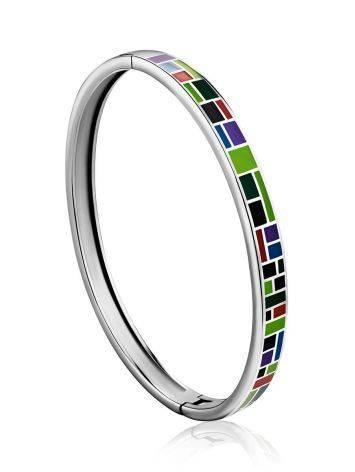 Playful Design Silver Enamel Bangle Bracelet, image