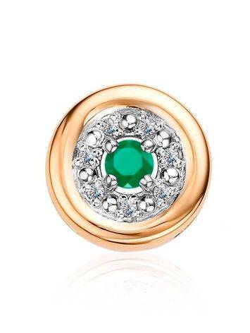 Chic Golden Pendant With Emerald And Diamonds, image