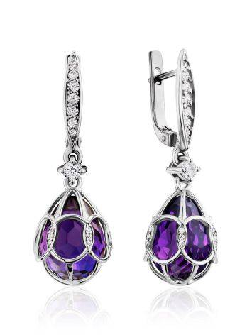 Vintage Style Silver Amethyst Egg Shaped Dangles The Romanov, image