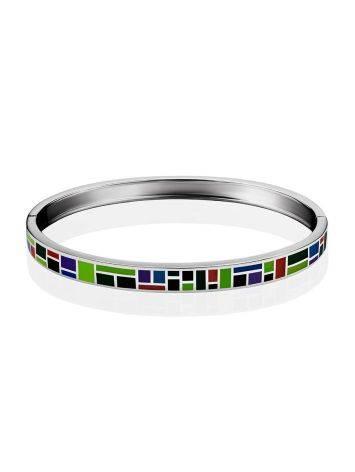 Playful Design Silver Enamel Bangle Bracelet, image , picture 3