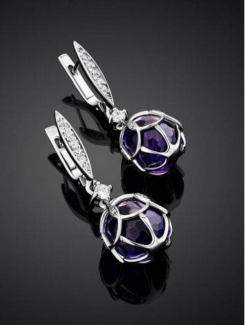 Vintage Style Silver Amethyst Egg Shaped Dangles The Romanov, image , picture 2