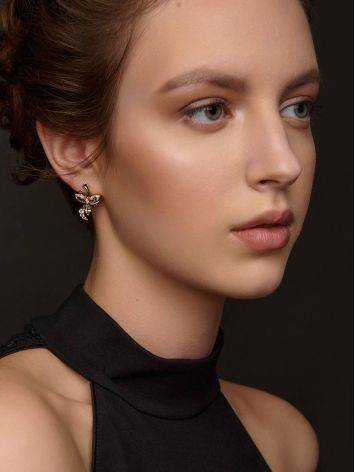 Floral Design Gold Topaz Earrings, image , picture 3