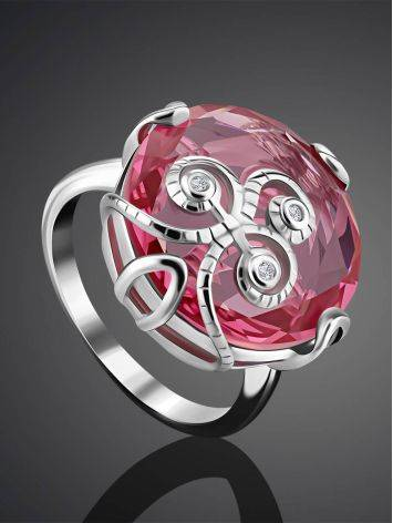 Lustrous Pinkish Crystal Ring, Ring Size: 6 / 16.5, image , picture 2