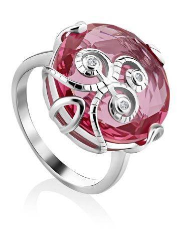 Lustrous Pinkish Crystal Ring, Ring Size: 6 / 16.5, image