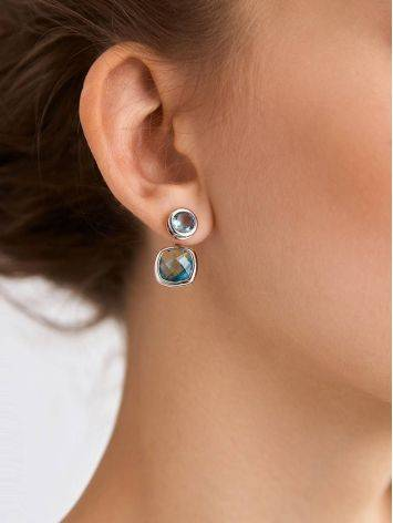 Transformable Silver Topaz Stud Earrings, image , picture 3