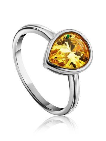 Lustrous Yellow Crystal Ring, Ring Size: 8 / 18, image