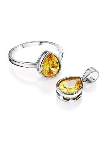 Lustrous Yellow Crystal Ring, Ring Size: 8 / 18, image , picture 4
