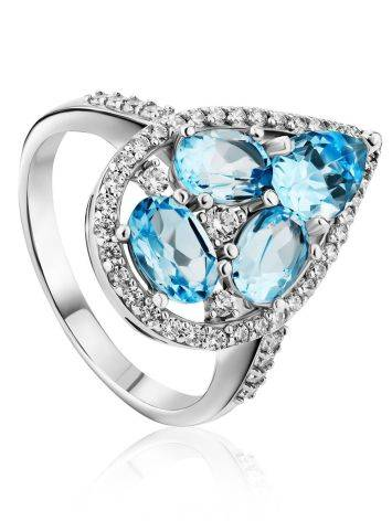 Voluminous Silver Cocktail Ring With Topaz And Crystals, Ring Size: 8 / 18, image