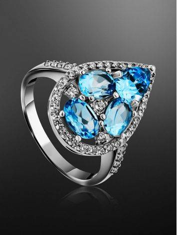 Voluminous Silver Cocktail Ring With Topaz And Crystals, Ring Size: 8 / 18, image , picture 2