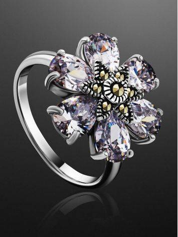 Chic Floral Design Silver Ring With Marcasites And Crystals The Lace, Ring Size: 8 / 18, image , picture 2