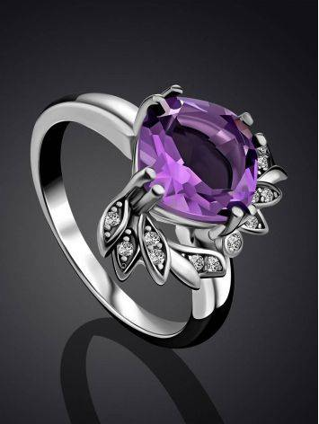 Chic Silver Amethyst Ring, Ring Size: 6.5 / 17, image , picture 2