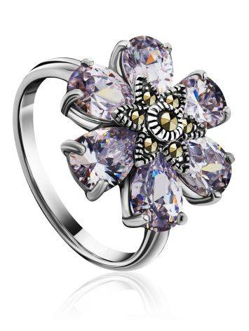 Chic Floral Design Silver Ring With Marcasites And Crystals The Lace, Ring Size: 8 / 18, image
