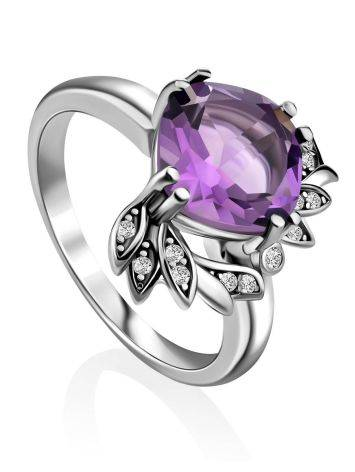 Chic Silver Amethyst Ring, Ring Size: 6.5 / 17, image