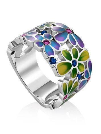 Ultra Feminine Floral Design Enamel Band Ring With Crystals, Ring Size: 7 / 17.5, image