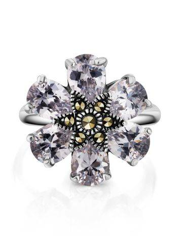 Chic Floral Design Silver Ring With Marcasites And Crystals The Lace, Ring Size: 8 / 18, image , picture 3