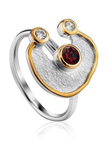 Futuristic Design Silver Garnet Ring, Ring Size: 9.5 / 19.5, image