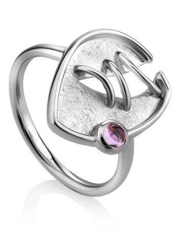 Designer Silver Amethyst Ring, Ring Size: 8.5 / 18.5, image