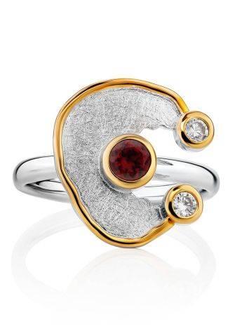 Futuristic Design Silver Garnet Ring, Ring Size: 9.5 / 19.5, image , picture 3