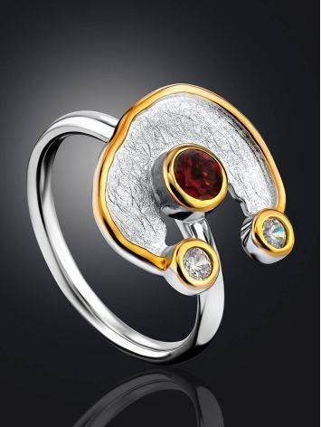 Futuristic Design Silver Garnet Ring, Ring Size: 9.5 / 19.5, image , picture 2