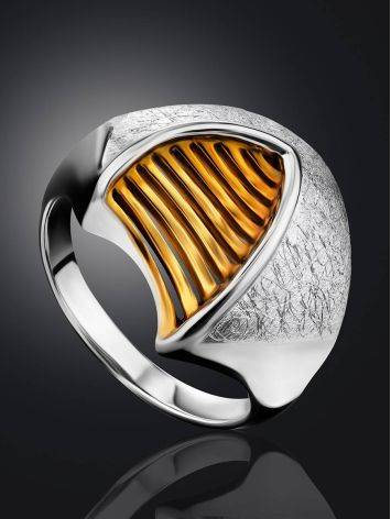 Futuristic Design Gilded Silver Ring, Ring Size: 7 / 17.5, image , picture 2