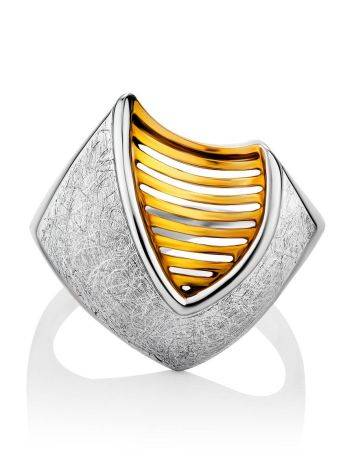 Futuristic Design Gilded Silver Ring, Ring Size: 7 / 17.5, image , picture 3