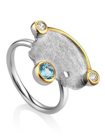 Designer Silver Topaz Ring With Crystals, Ring Size: 8 / 18, image