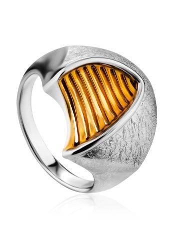 Futuristic Design Gilded Silver Ring, Ring Size: 7 / 17.5, image