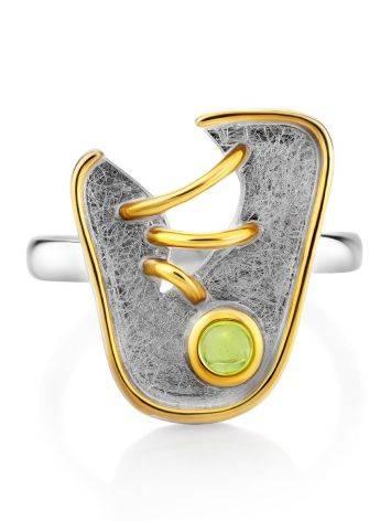 Futuristic Design Silver Chrysolite Ring, Ring Size: 6.5 / 17, image , picture 3