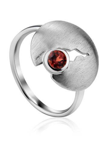 Torn Design Silver Garnet Ring, Ring Size: 9 / 19, image
