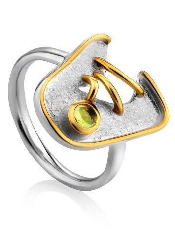 Futuristic Design Silver Chrysolite Ring, Ring Size: 6.5 / 17, image
