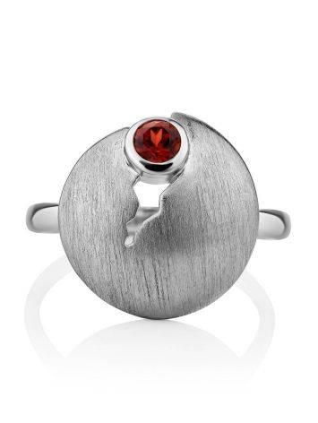 Torn Design Silver Garnet Ring, Ring Size: 9 / 19, image , picture 3