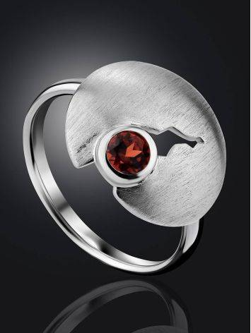 Torn Design Silver Garnet Ring, Ring Size: 9 / 19, image , picture 2