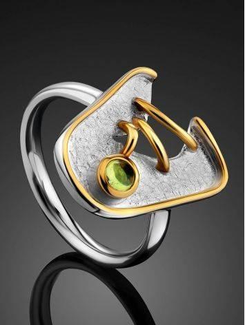 Futuristic Design Silver Chrysolite Ring, Ring Size: 6.5 / 17, image , picture 2