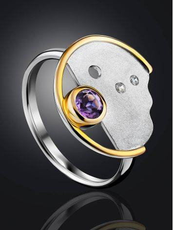 Fashionable Silver Amethyst Ring, Ring Size: 9 / 19, image , picture 2