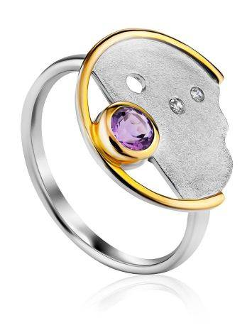 Fashionable Silver Amethyst Ring, Ring Size: 9 / 19, image