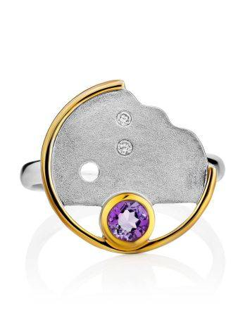Fashionable Silver Amethyst Ring, Ring Size: 9 / 19, image , picture 3