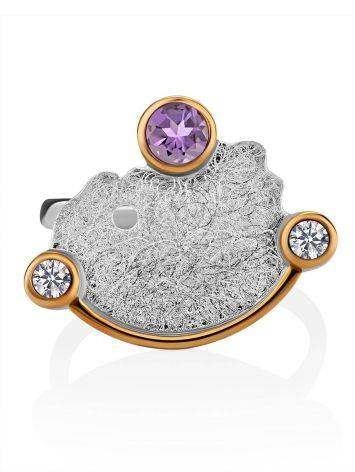 Designer Silver Ring With Amethyst And Crystals, Ring Size: 8.5 / 18.5, image , picture 3