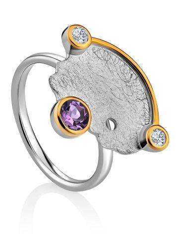 Designer Silver Ring With Amethyst And Crystals, Ring Size: 8.5 / 18.5, image