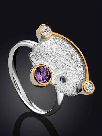 Designer Silver Ring With Amethyst And Crystals, Ring Size: 8.5 / 18.5, image , picture 2