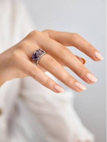 Lustrous Silver Amethyst Ring, Ring Size: 6.5 / 17, image , picture 3