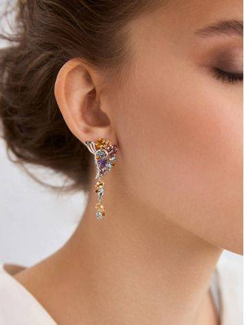 Exquisite Silver Earrings With Topaz And Citrine Stones, image , picture 3