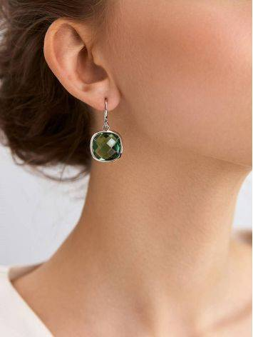 Bold Silver Prasiolite Drop Earrings, image , picture 3