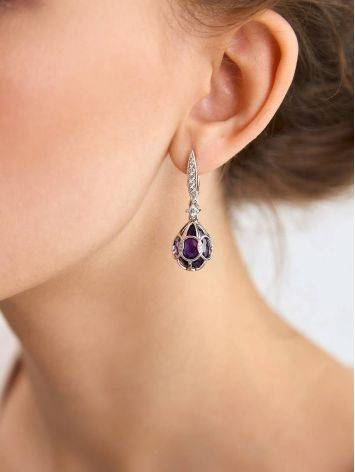 Vintage Style Silver Amethyst Egg Shaped Dangles The Romanov, image , picture 3
