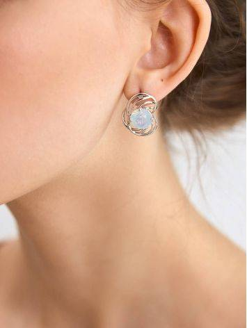 Chic Silver Earrings With Blue Agate Centerstones, image , picture 3