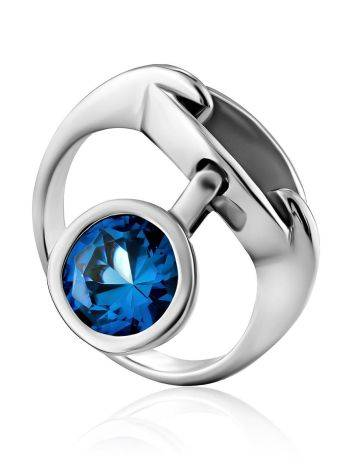Ultra Modern Silver Pendant Ring, Ring Size: 7 / 17.5, image