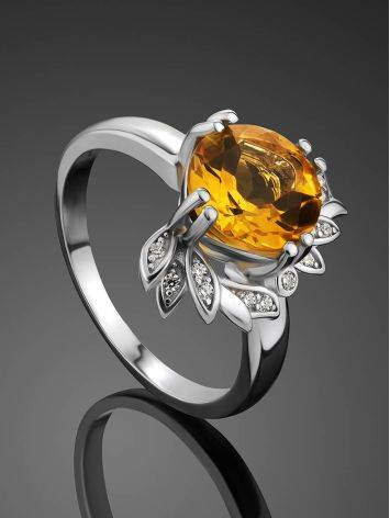 Luminous Silver Citrine Ring, Ring Size: 8 / 18, image , picture 2