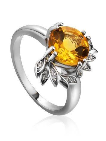 Luminous Silver Citrine Ring, Ring Size: 8 / 18, image
