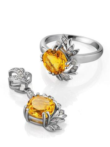 Luminous Silver Citrine Ring, Ring Size: 8 / 18, image , picture 4