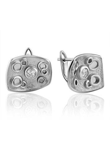 Abstract Design Silver Crystal Earrings, image