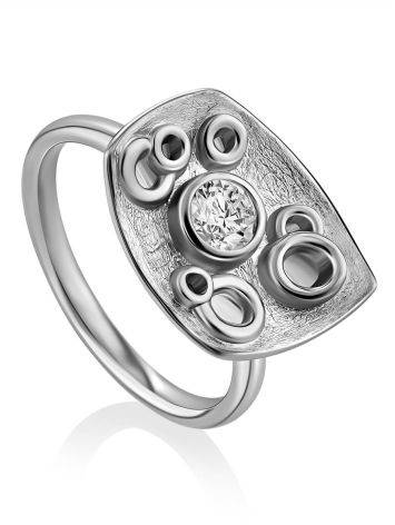 Stylish Silver Crystal Ring, Ring Size: 9 / 19, image